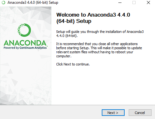 anaconda installation wizard